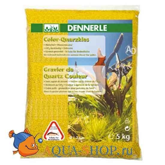 Грунт Dennerle Color-Quarz гравий 1-2 мм 5 кг желтый