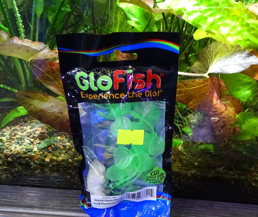Растение  пластиковое GLOFISH зеленое флуоресцентное 13 см