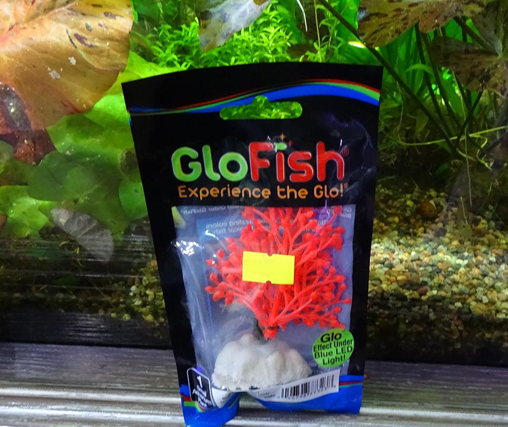 Растение  пластиковое GLOFISH оранжевое флуоресцентное 13 см