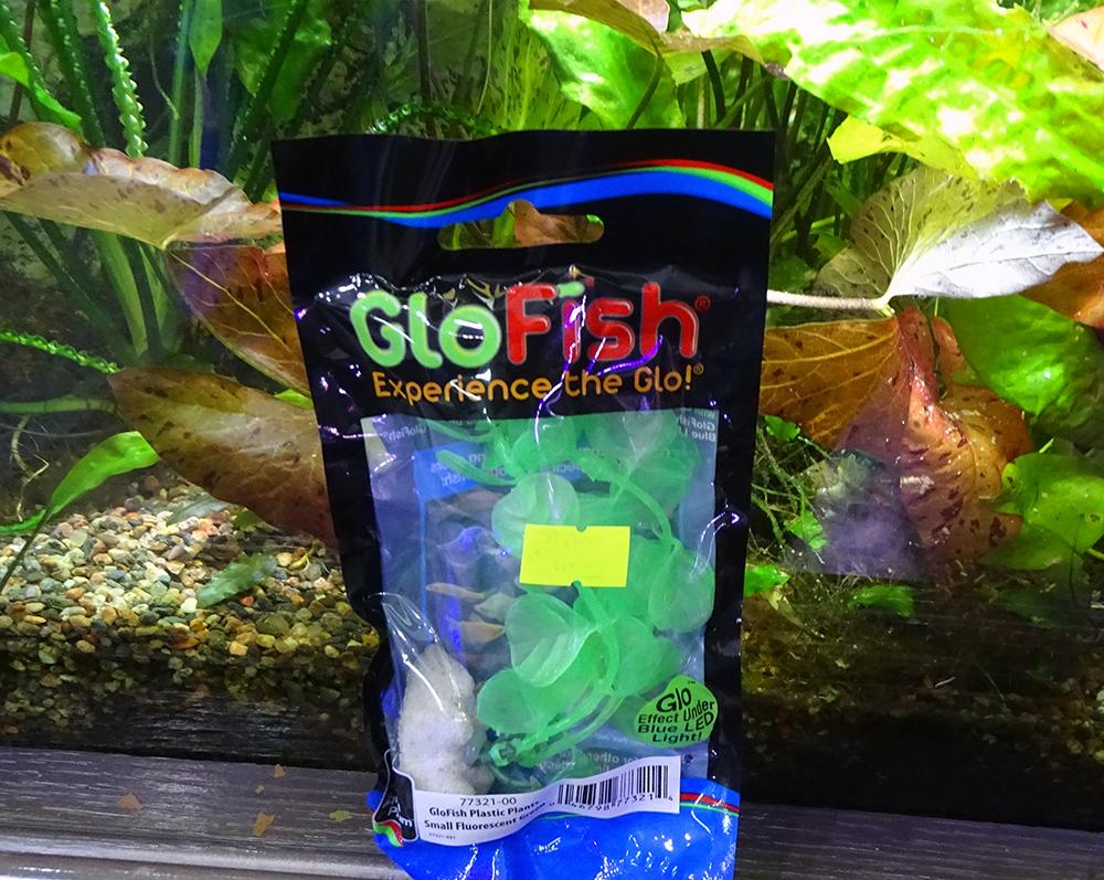 Растение  пластиковое GLOFISH зеленое флуоресцентное 15 см