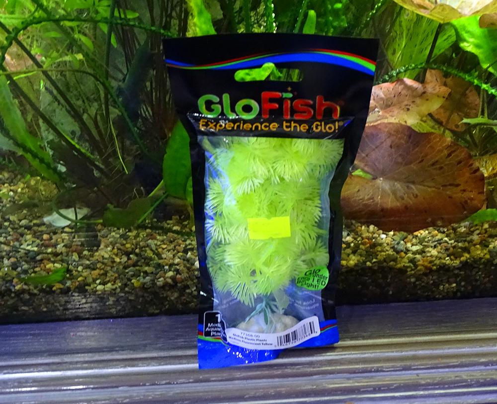 Растение  пластиковое GLOFISH желтое флуоресцентное 15 см
