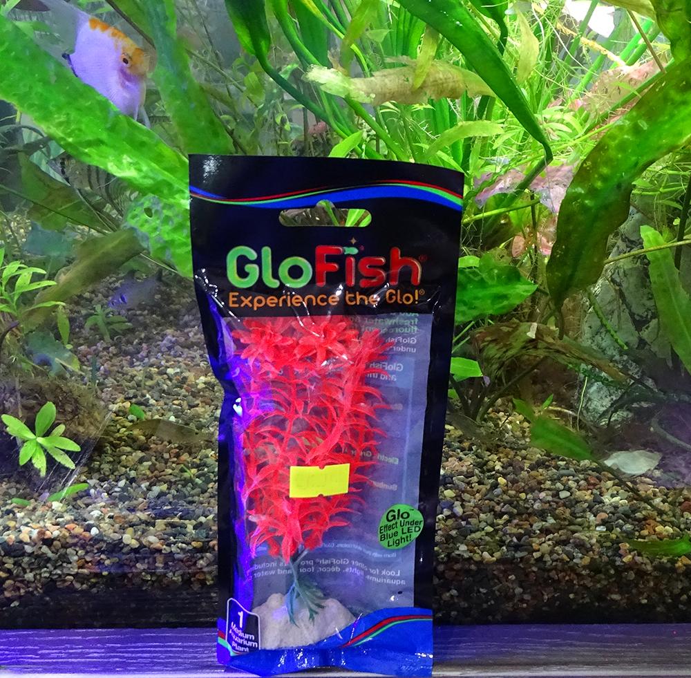 Растение  пластиковое GLOFISH оранжевое флуоресцентное 15 см