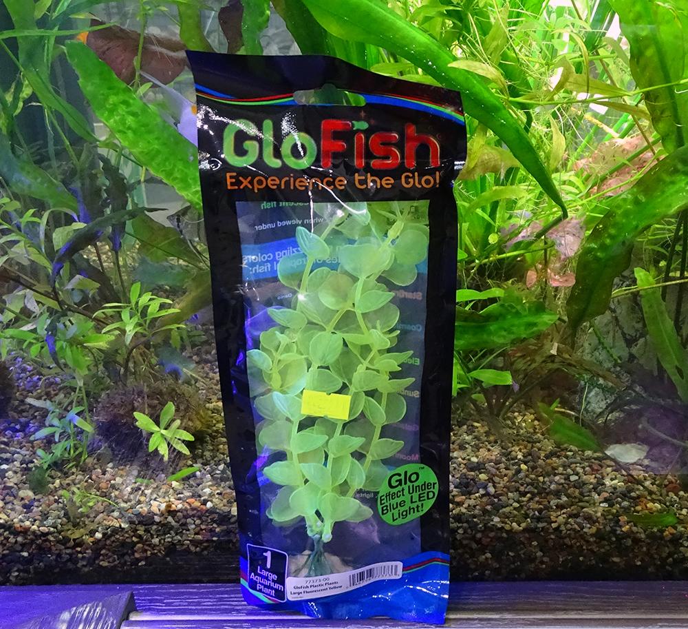 Растение  пластиковое GLOFISH желтое флуоресцентное 20 см