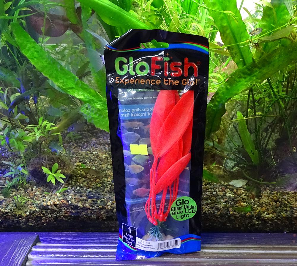 Растение  пластиковое GLOFISH оранжевое флуоресцентное 20 см