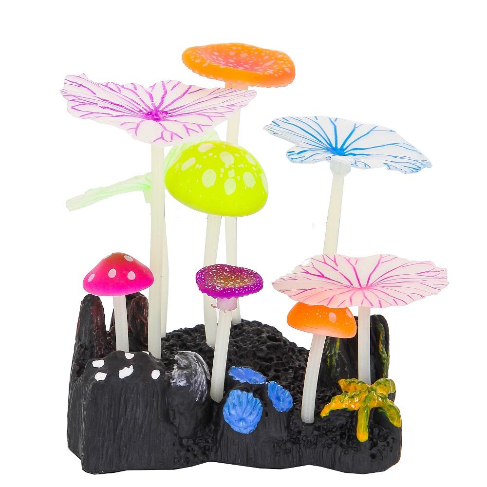 Декорация Пять грибов и четыре листа лотоса 10*7,5*11 см