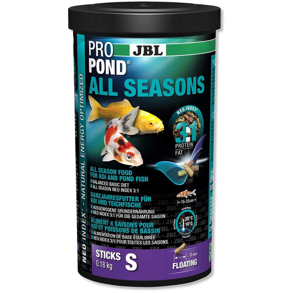 Корм для прудовых рыб JBL ProPond All Seasons S всесезонный, в форме плавающих палочек для карпов кои небольшого размера, 0,18 кг (1 л)