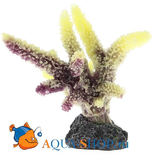 Коралл пластиковый желто-коричневый 8*6*8 см