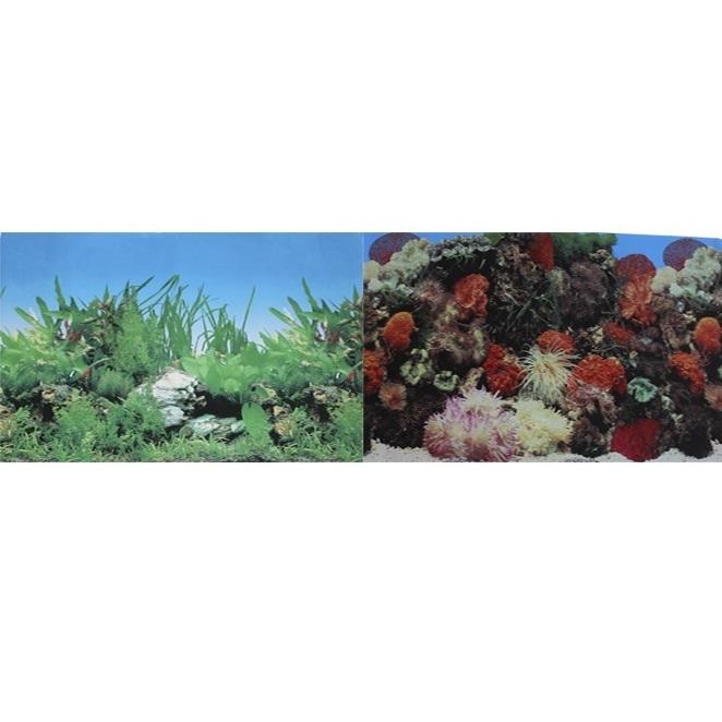 Фон для аквариума двухсторонний Кораллы/Растительный 30х60 см