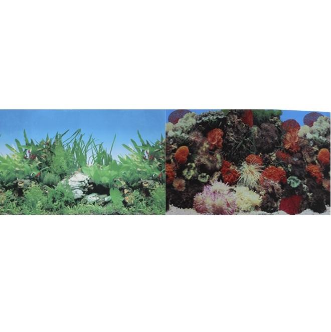 Фон для аквариума двухсторонний Кораллы/Растительный 50х100см