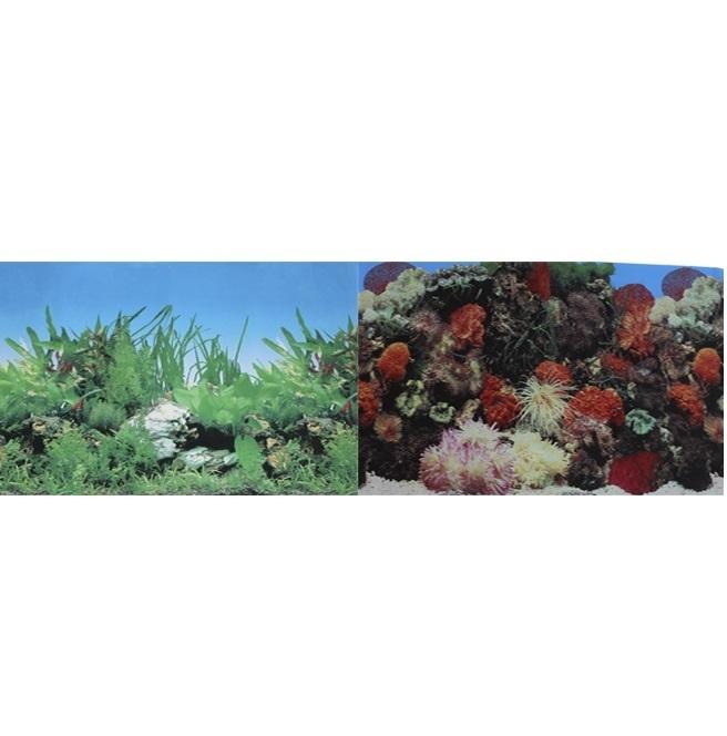 Фон для аквариума двухсторонний Кораллы/Растительный 60х150см