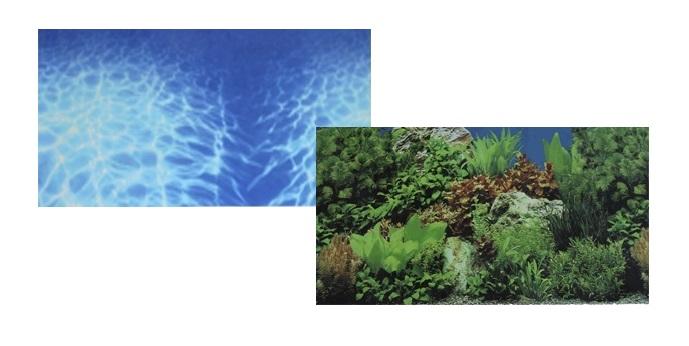 Фон для аквариума двухсторонний Синее море/Растительный пейзаж 60х150см