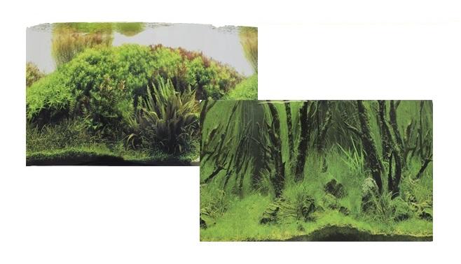 Фон для аквариума двухсторонний Коряги с растениями Растительные холмы 60х150см