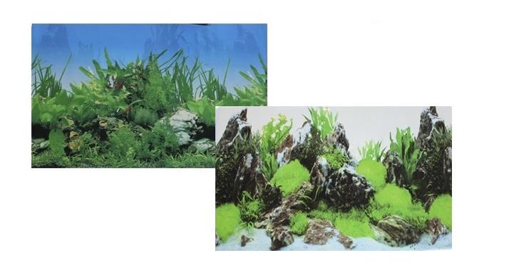 Фон для аквариума двухсторонний Растительный/Скалы с растениями 50х100см