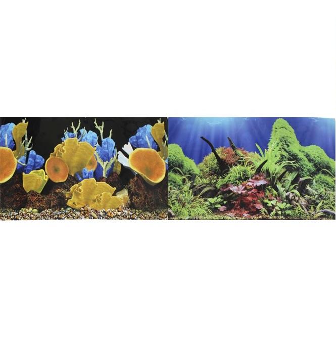 Фон для аквариума двухсторонний Морские кораллы/Подводный мир 50х100см