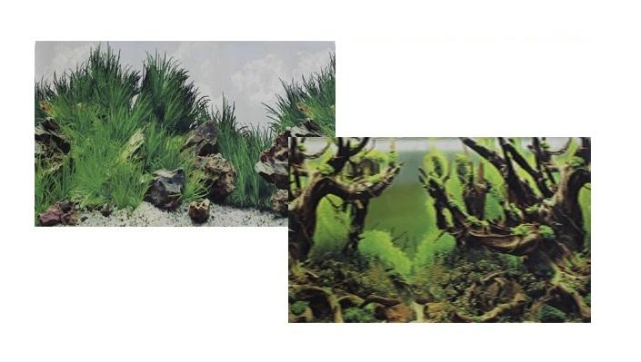Фон для аквариума двухсторонний Мангровая коряга/Подводный рельеф 60х150см