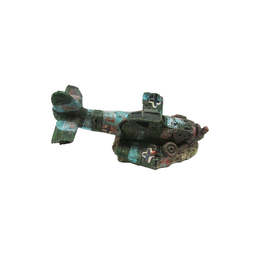 """Декорация пластиковая """"Затонувший самолет мини"""" 80х45х45мм"""