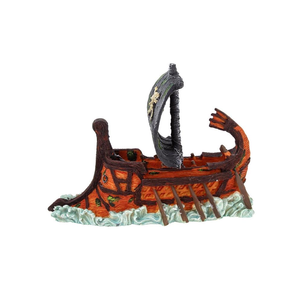 """Декорация пластиковая """"Затонувший пиратский корабль"""" 275х95х140мм"""