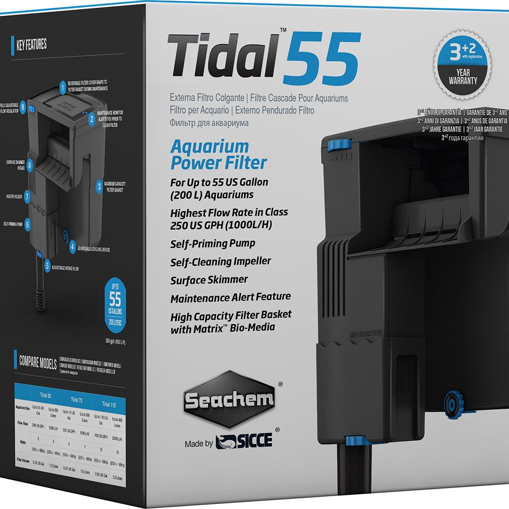 Фильтр рюкзачный Seachem Tidal 55, 1125 л/ч для аквариума до 250л