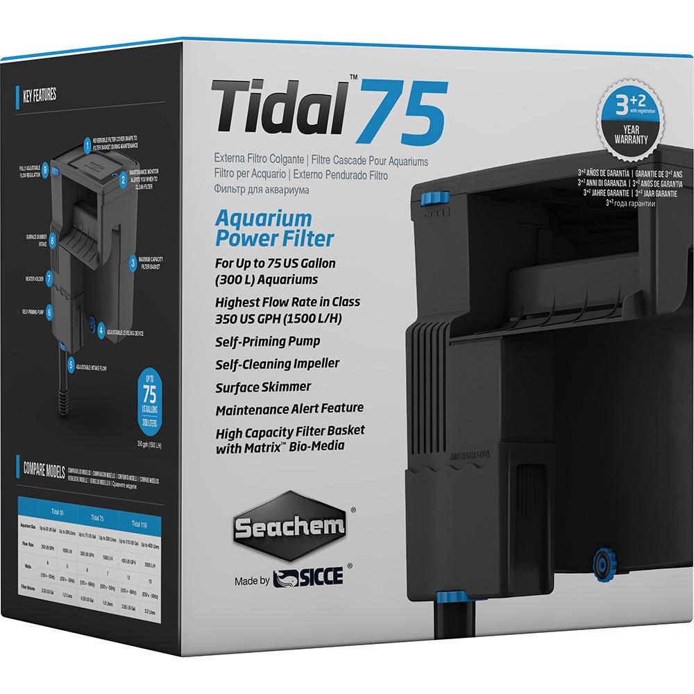 Фильтр рюкзачный Seachem Tidal 75, 1575 л/ч для аквариума до 340л