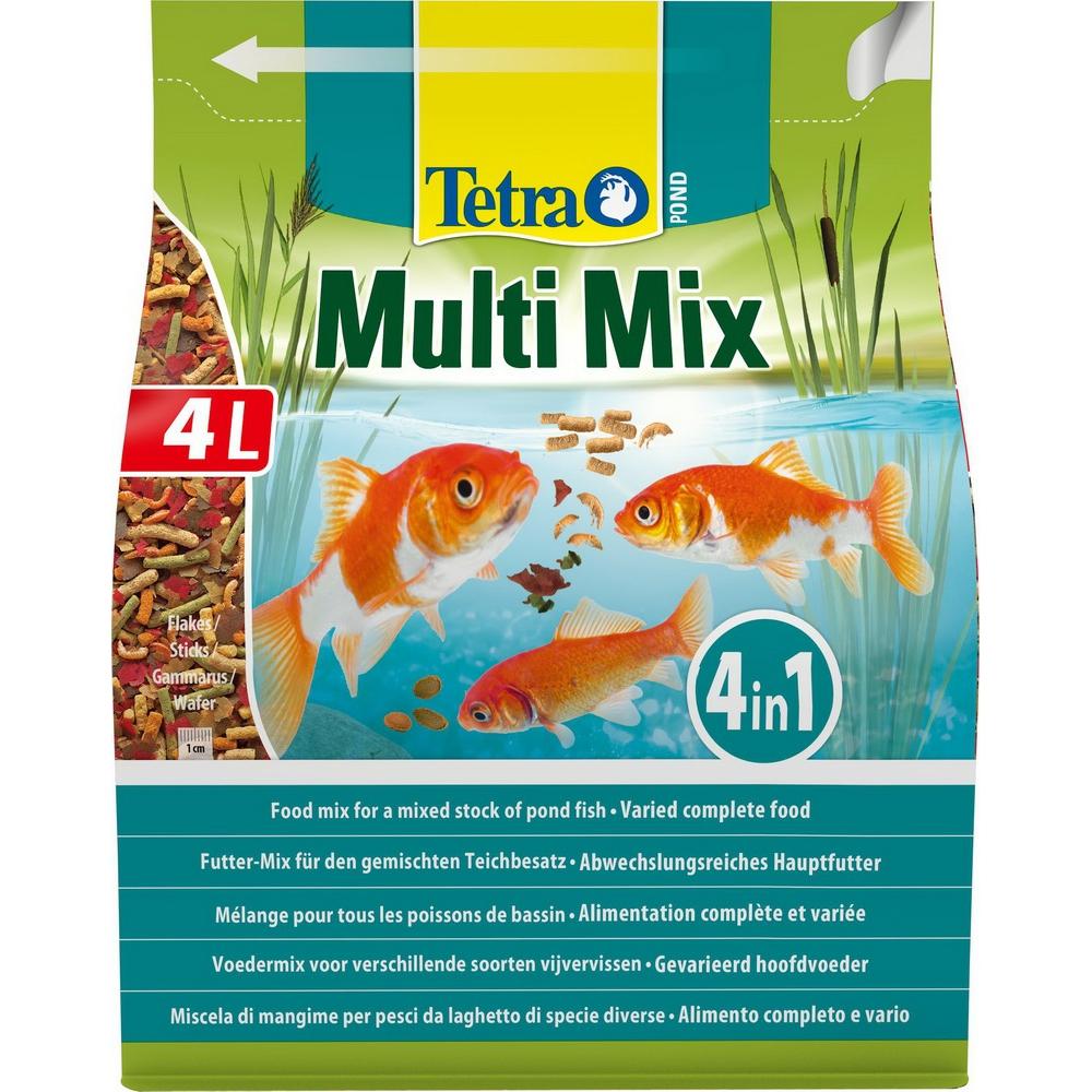 Корм для прудовых рыб TetraPond MultiMix гранулы хлопья таблетки гаммарус  4 л