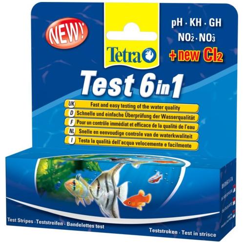 Тест-полоски TETRA 6 в 1 pH/KH/GH/NO2/NO3/Cl2, пресн, 25шт