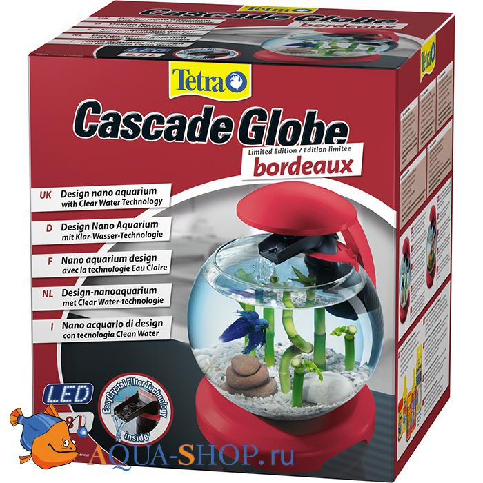 Аквариум Tetra Cascade Globe 6,8л круглый с LED светильником бордовый