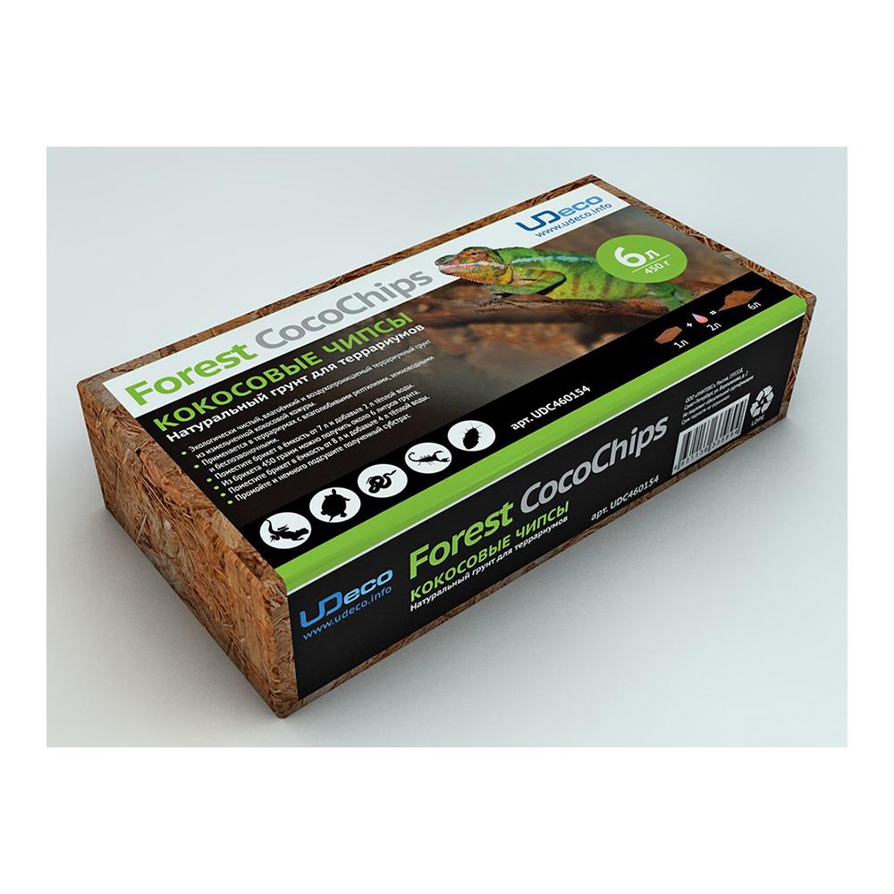 Грунт натуральный для террариумов UDECO Кокосовые чипсы, 6 л из 450 г